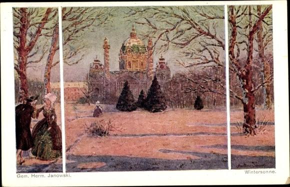 Künstler Ak Janowski, Herm., Wintersonne, Winterlandschaft, Mann, Frau, Palast