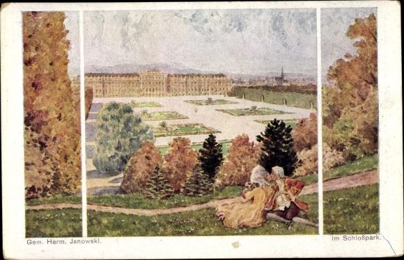 Künstler Ak Janowski, Herm., Versailles Yvelines, Im Schlosspark