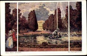 Künstler Ak Janowski, Herm., Am Springbrunnen, küssendes Liebespaar