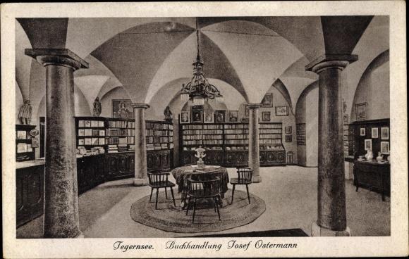 Ak Tegernsee in Oberbayern, Buchhandlung Josef Ostermann, Innenraum