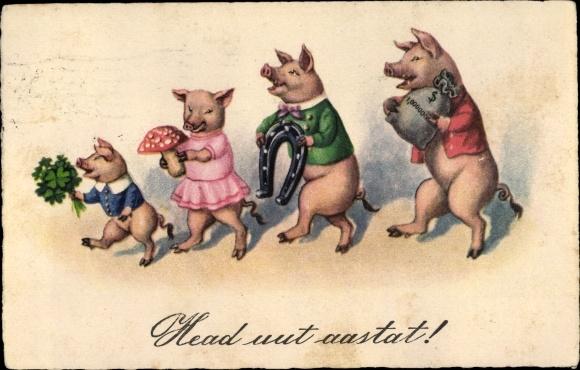 Ak Glückwunsch Neujahr, Vermenschlichte Schweine, Geld, Hufeisen, Klee, Pilze