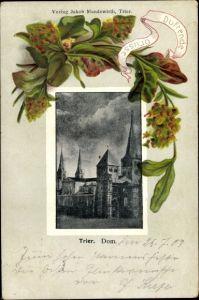 Präge Passepartout Ak Trier in Rheinland Pfalz, Dom, Blumen