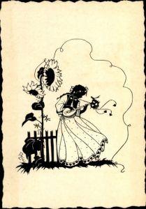 Scherenschnitt Ak Einicke Zschoche, Mädchen mit Laute, Sonnenblume