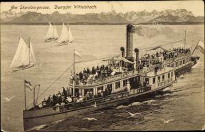 Ak Salondampfer Wittelsbach auf dem Starnberger See, Zieher