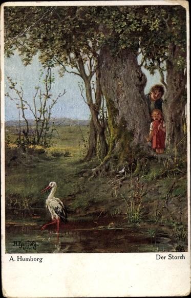 Künstler Ak Humborg, A., Der Storch, Kind, Mann