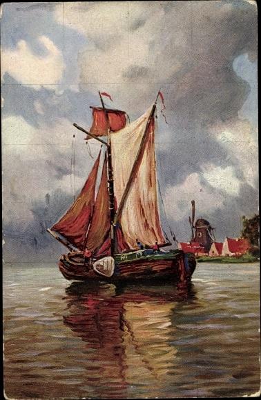 Künstler Ak Segelboot, Fischerboot, Windmühle
