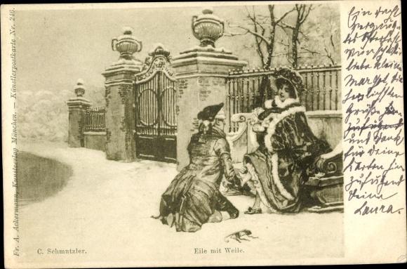 Künstler Ak Schmutzler, C., Eile mit Weile, elegante Dame, Mann, Ackermann Nr. 246