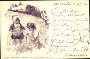 Künstler Ak Zwei Mädchen pflücken Blumen, Theo Stroefer III 25