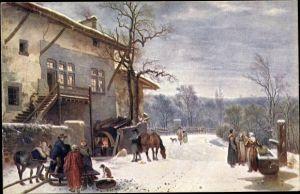 Künstler Ak Toepffer, Adam W., Der Köhler, Schlitten, Winter