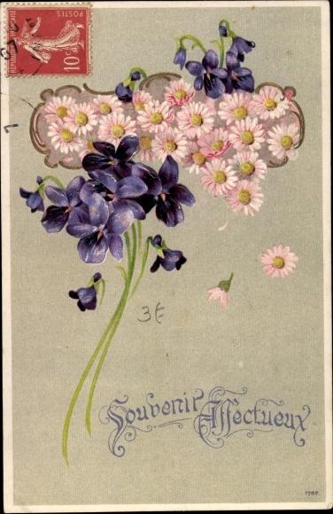 Litho Souvenir Affectueux, Veilchen, Gänseblümchen