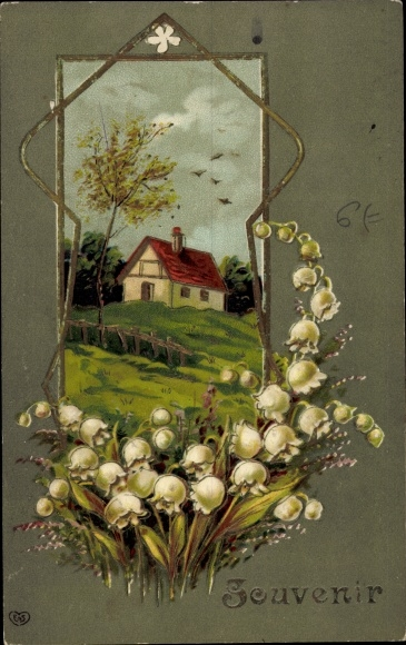 Präge Litho Souvenir, Maiglöckchen, Haus, EAS