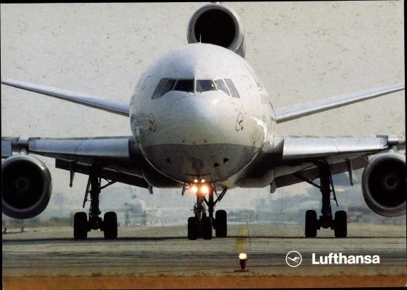 Ak Lufthansa McDonnell Douglas DC10-30, Passagierflugzeug, Werbung