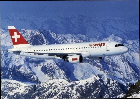 Ak Schweizer Passagierflugzeug, swiss Airlines Airbus A320, Alpen