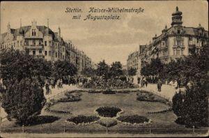 Ak Szczecin Stettin Pommern, Kaiser Wilhelm Straße m. Augustaplatz
