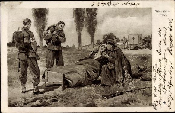 Künstler Ak Nächstenliebe, Sanitäter versorgen verwundeten Soldaten, I. WK