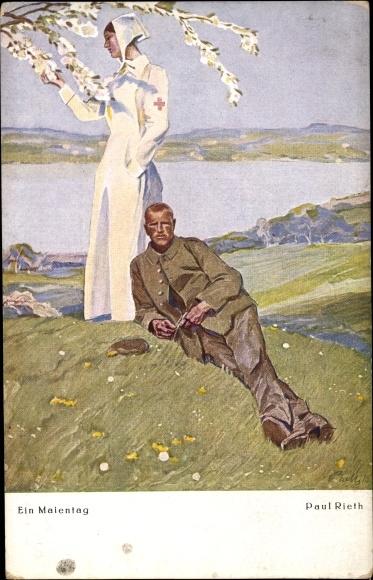 Künstler Ak Rieth, Paul, Ein Maientag, Krankenschwester, Soldat in Uniform