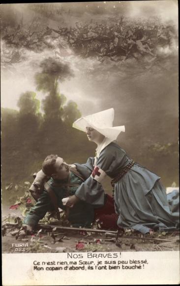 Ak Nos Braves, französischer Soldat, Krankenschwester, Rotes Kreuz