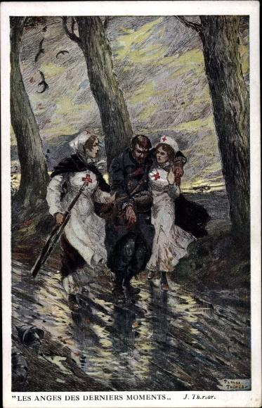 Künstler Ak Thiriar, James, Les Anges des derniers Moments, Krankenschwestern, belgischer Soldat