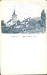 Ak Concise Kt. Waadt Schweiz, L' Eglise et la Cure