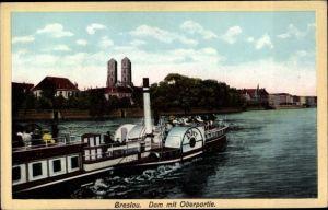 Ak Wrocław Breslau Schlesien, Oderpartie, Dom, Salondampfer Oder