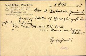 Ak Pforzheim im Schwarzwald, Adolf Köhler, Gold-, Silber- und Alpaccawaren