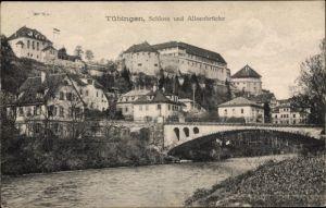 Ak Tübingen am Neckar, Schloss und Alleenbrücke