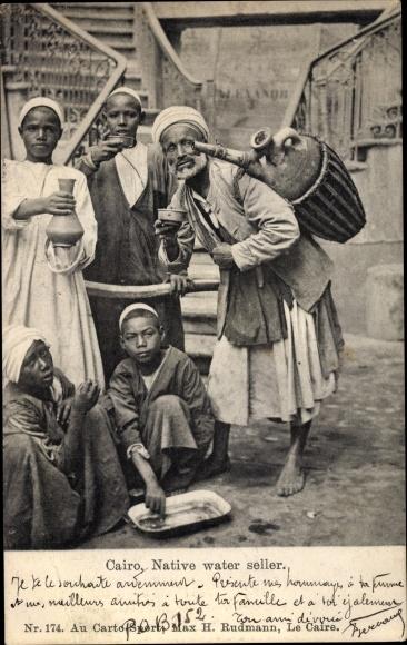 Ak Cairo Kairo Ägypten, Native Water Seller, Wasserhändler