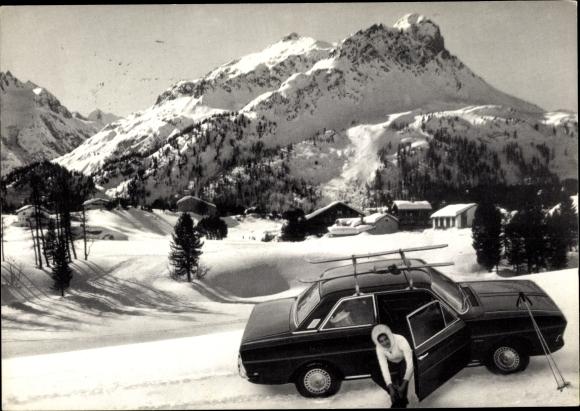 Ak Automobil, Ford im Gebirge, Skistöcke