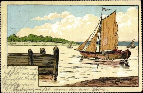 Künstler Ak Segelboot auf dem Wasser, Fischerboot