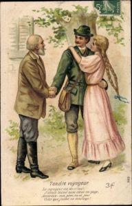 Präge Litho Tendre voyageur, Liebespaar, Umarmung