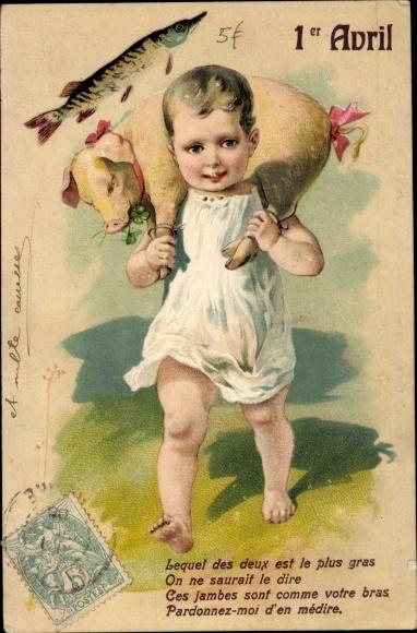 Präge Litho 1. April, Ier Avril, Kind, Schwein, Fisch