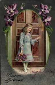 Passepartout Litho Souvenir affectueux, Mädchen, Veilchenblüten