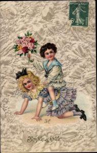 Präge Litho Glückwunsch Neujahr, Junge, Mädchen, Blumen