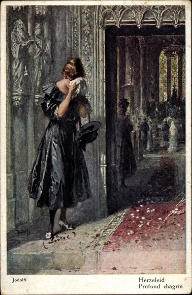 Künstler Ak Jodolfi, Adolf, Herzeleid, Profond chagrin, weinende Frau