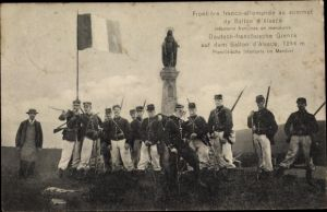 Ak Deutsch französische Grenze auf dem Ballon d'Alsace, französische Infanterie