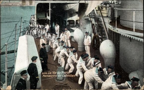 Ak La Vie du Marin, Manoeuvre du Cabestan, französische Seeleute