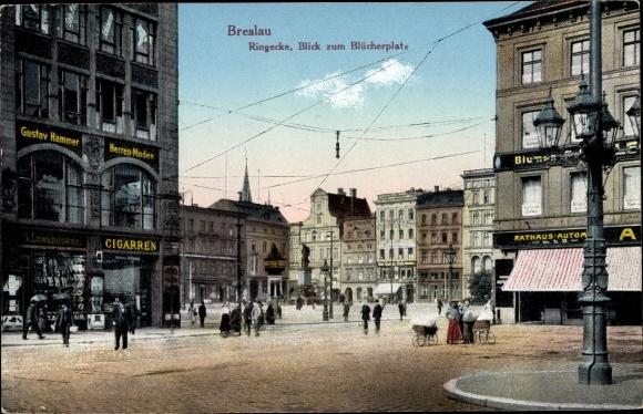 Ak Wrocław Breslau Schlesien, Ringecke, Blick zum Blücherplatz, Gustav Hammer Herrenmoden
