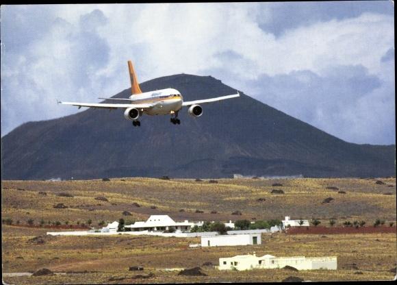 Ak Deutsches Passagierflugzeug, Hapag Lloyd Airbus A310, Landung, Teneriffa, Kanaren