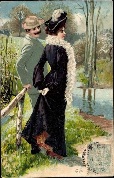 Litho Mann und Frau am Flussufer, Liebespaar