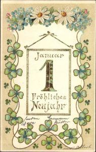 Präge Litho Glückwunsch Neujahr, Kalenderblatt 1 Januar, Kleeblätter