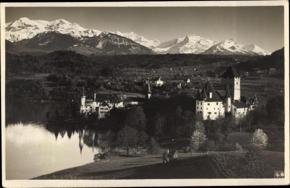Ak Bern Stadt Schweiz, Panorama mit Burg