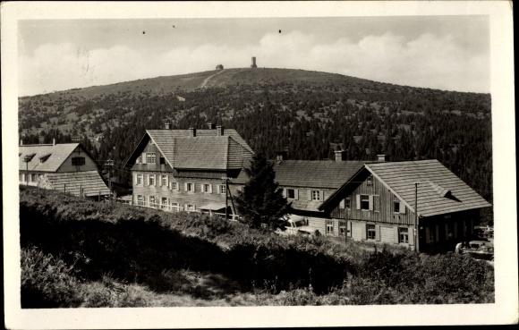 Ak Jeseník Freiwaldau Reg. Olmütz, Praded, Altvatergebirge, Häuser