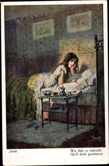 Künstler Ak Jodolfi, Junge Frau liest im Bett