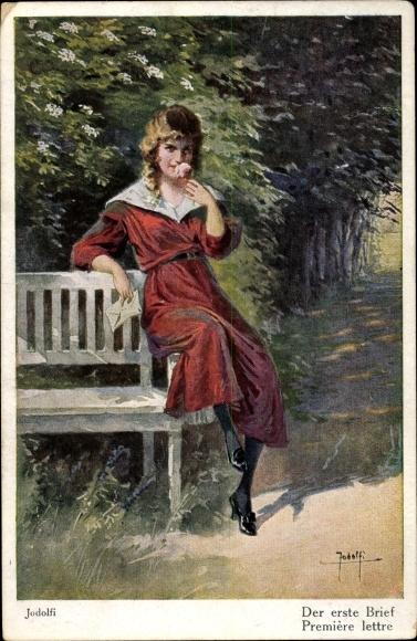 Künstler Ak Jodolfi, Der erste Brief, junge Frau, Bank