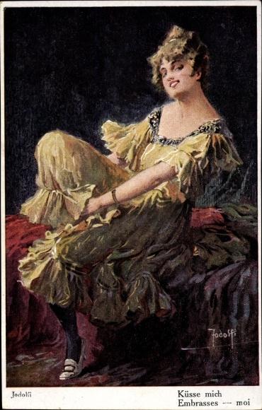 Künstler Ak Jodolfi, Küsse mich, junge Frau in gelbem Kleid