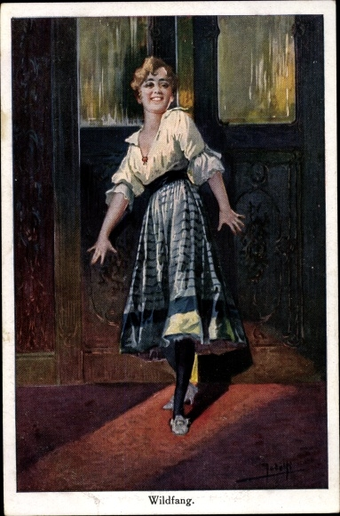 Künstler Ak Jodolfi, Wildfang, Junge Frau