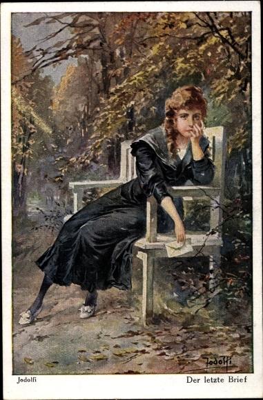Künstler Ak Jodolfi, Der letzte Brief, weinende junge Frau