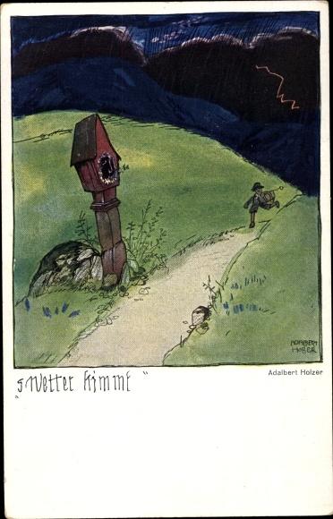 Künstler Ak Holzer, Adalbert, S Wetter kimmt, Gewitter, Wegkreuz