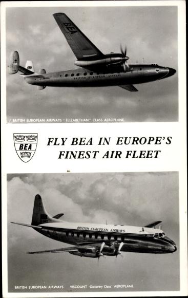 Ak British European Airways, Britisches Passagierflugzeug, Elizabethan Class, Viscount Discovery