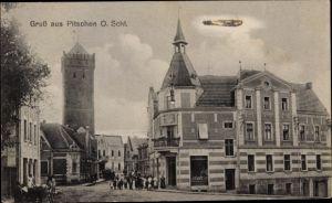 Ak Byczyna Pitschen Oberschlesien, Ortspartie, Turm